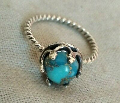 Blue Copper Turquoise Gemstone Ring 925 Sterling Silver Beautiful Prong Ring