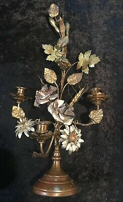 Antique Gilt Brass French Candelabra With Flowers  Wheat & Grape Clusters~ Early