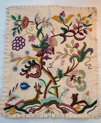 1950s Hand-Embroidered Cushion Slip Case. Medieval Flora & Fauna. Tinker Home