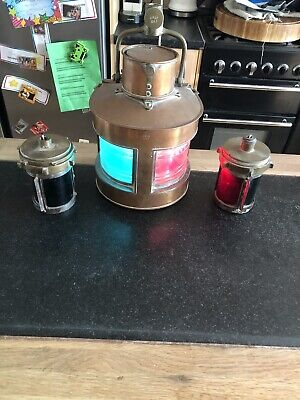 3 Old Brass / Copper Nautical Lamps Gpld 1943 As Acquired See Pics
