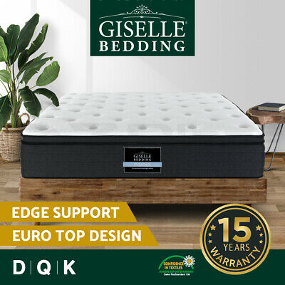 Giselle Bed Mattress QUEEN DOUBLE KING Pocket Spring Firm Plush Foam 7 Zone