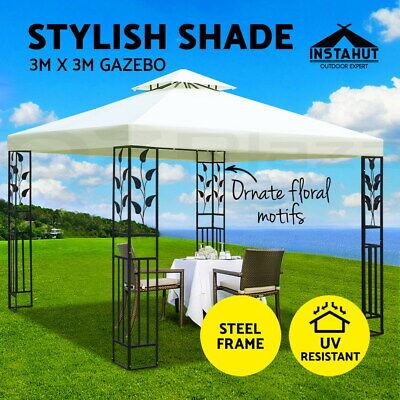 Instahut Gazebo 3x3 Party Outdoor Wedding Event Marquee Tent Iron Art Canopy