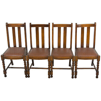 Antique Set of Four Oak Barley Twist Leg Dining Game Room Kitchen Side Chairs