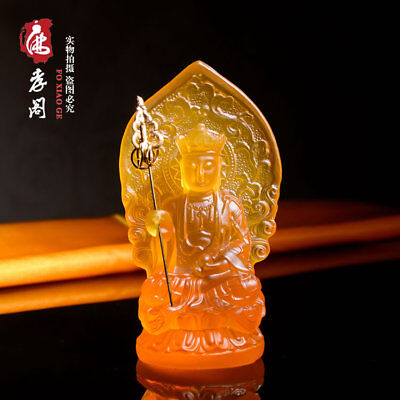 Tibetan Buddhism Yellow glass Buddha King of the Inferno Glaze Glass Buddha