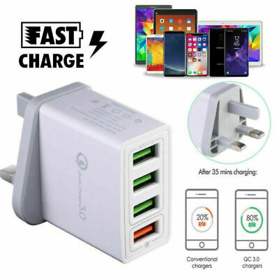 4Port Fast Qualcomm Quick Charge QC 3.0 USB Hub Wall Charger Adapter UK Plug