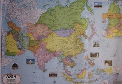 LARGE Laminated Map of Asia Map Asian Map Chart