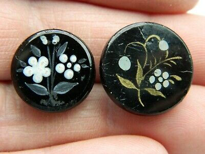 LOT Antique Vintage BUTTONS Black Glass Acid Etched Trimmed with FLOWER Picture