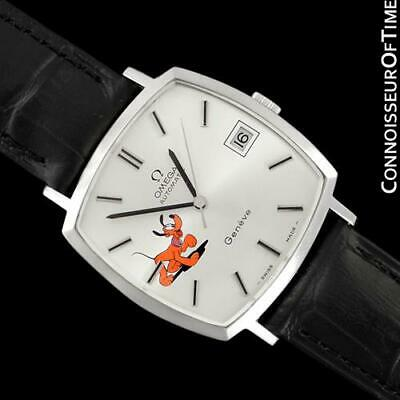 1974 OMEGA GENEVE Vintage Mens Unisex SS Steel Watch with Disney's Pluto Dog