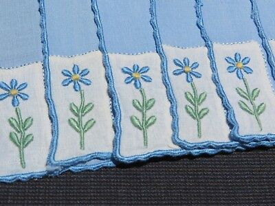 Vtg Antique 8 Cocktail Napkins LINEN Madeira Blue Forget Me Not Hand Embroidery
