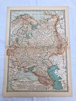 """1903 large colour fold out map titled """" russia in europe with poland & finland """""""