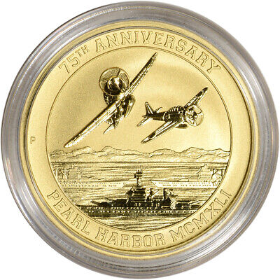 2016-P Tuvalu Gold 1 oz Pearl Harbor 75th Anniversary $100 - BU Coin in Capsule