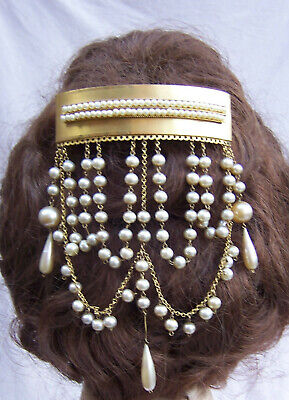 Victorian Moorish style hair comb with lavish faux pearl dangles