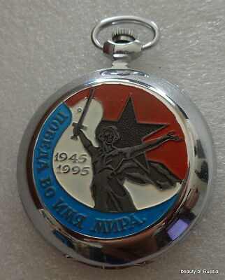 rare Attractive Designs; Russian Mechanical Wind Up Pocket Watch Marshal Zhukov Wwii 1941-1945