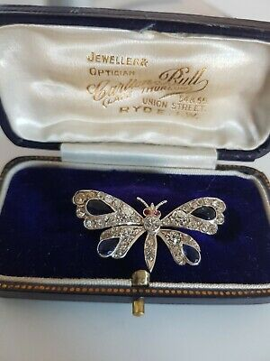 Stunning Antique Victorian Silver Paste Clear & Sapphire Butterfly Brooch