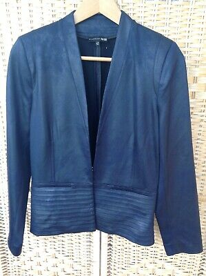 EVA KAYAN Navy Blue Shiny Jacket Coat Metallic Sheen Size Italy 42 EK Blue UK 10