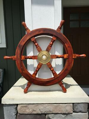 "nautical Ships Wheel 18"" rosewood and Brass Nautical Wood Ships Wheel boat decor"