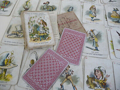 Alice in Wonderland themed De La Rue London antique playing card game; RARE