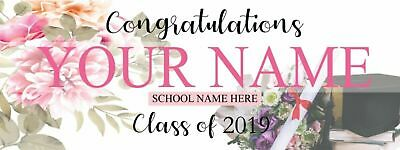 "Personalized Graduation Banner Party Decoration Class of 2019 Floral 18'"" x 4'"