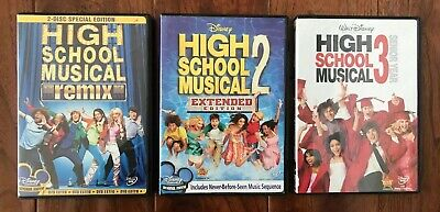 HIGH SCHOOL MUSICAL 1 2 3 DVD Lot ❤️ Authentic DISNEY collection ~ Excellent