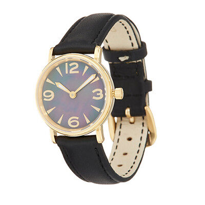 Vicence 14K Yellow Gold Round Case Leather Strap Watch QVC $499