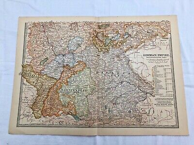 """1903 large colour fold out map titled """" german empire - southwestern part """""""