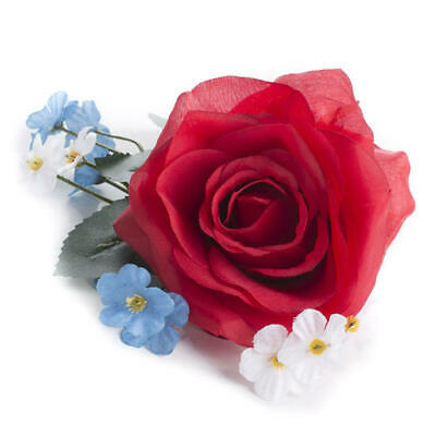 Petite Red, White, and Blue Artificial Rose and Wildflower