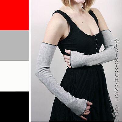 Long Cotton Arm Warmers Gray Armwarmers Grey Sleeves Warm Fingerless Gloves Goth