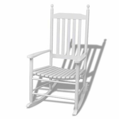 Rocking Chair with Curved Seat Wood White W9B4