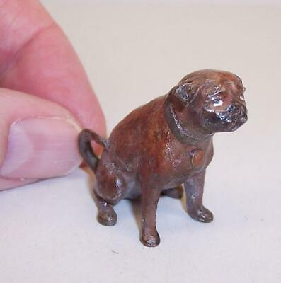TINY Vintage/Antique COLD PAINTED BRONZE Miniature PUG DOG