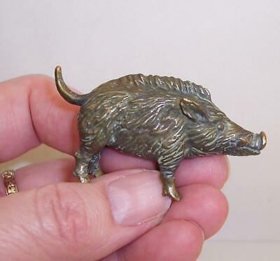 Vintage/Antique SOLID BRONZE Metal WILD BOAR Pig/Hog MINIATURE Sculpture/Figure