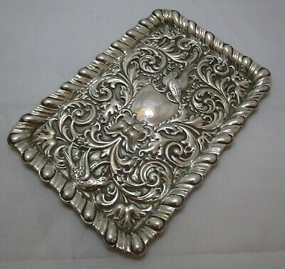 Antique Victorian Sterling silver dressing table tray, 390 grams, Chester 1897