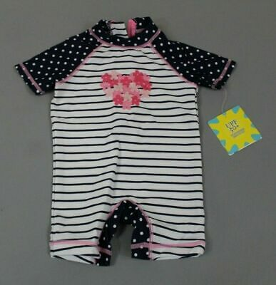 7617efce4e813 Little Me Girls Striped One Piece Rashguard Swimsuit SI4 Navy Blue Size  6-9M NWT