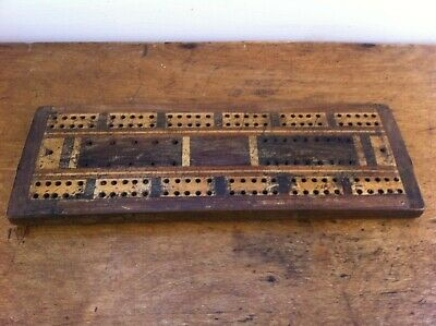 DECORATIVE VINTAGE INLAID WOODEN CRIBBAGE BOARD 10.5 by 3.5 inches