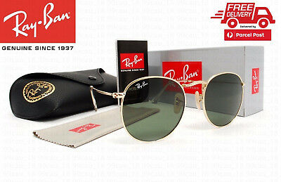 f6dd16b92 Authentic Ray-Ban RB3447 001 50mm Round Metal Classic Gold Frame Green  Lenses