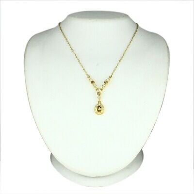 """14K Yellow Gold Over Pear & Round Cut Crystal 16"""" Drop Necklace"""