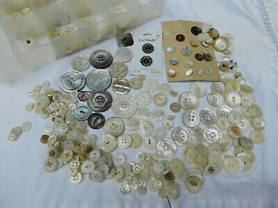 Antique Vintage Mother of Pearl, Abalone Button Lot of 500 Carved, Sets, Loose