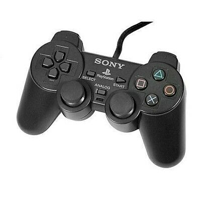 Official OEM Sony Playstation 2 PS2 Dual Shock Controller Black SCPH-10010 PS2