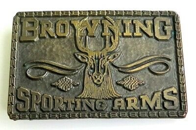 Browning Rifle Guns Firearms Deer Western 1970's Vintage Belt Buckle