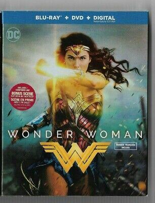 New Sealed  BLU-RAY DISC + DIGITAL + DVD + WONDER WOMAN -  Also In French