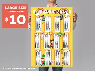 TIMES TABLES MULTIPLICATION MATHS POSTER (60x90cm)  PICTURE PRINT SCHOOL