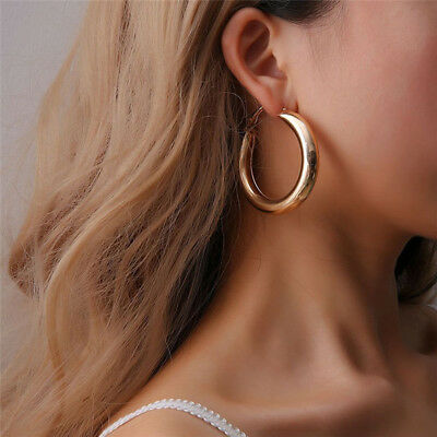 Fashion Punk Rock Thick Tube Gold Silver Round Circle Big Hoop Earrings Women