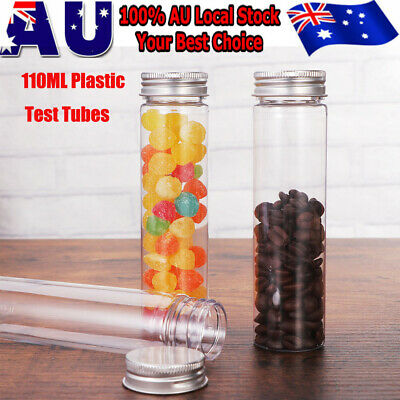 15x Plastic Test Tubes Clear Candy Jar Metal Cap Lid Wedding Party Favor Box