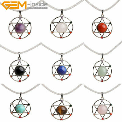 35mm Assorted Stones Rhinestone Healing Reiki Charm Pendant Necklace 19'' Gift