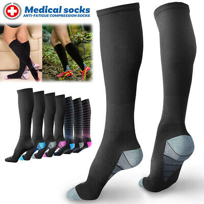Men Women Copper Infused Compression Socks 20-30mmHg Graduated High Stockings A2