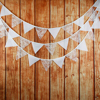 3.2M Vintage White Lace Flag Banner Bunting Wedding Birthday Party Decoration UK