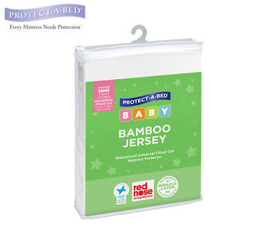 Protect-A-Bed Bamboo Jersey Fitted Cot Mattress Protector - White