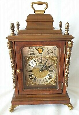 Warmink Mantel Clock Dutch Vintage Shelf Moon Dial Bell Strike Silent Option