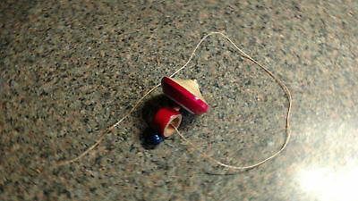 Vintage wooden Spinning top Red String Game Toy Childrens Play