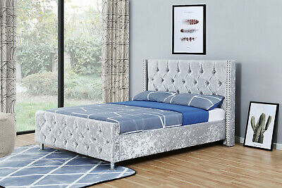 4ft6 Double Winged Silver Diamonte Crushed Velvet Upholstered Fabric Bed Frame