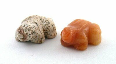 Two Picture & Carnelian Agate Frog Carving Carved Gem Stone Gemstone Peru ES7895
